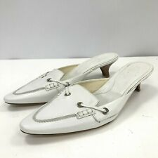 Tod's Heels UK 6 EU 39 White Leather Slip On Loafer Mules Shoes Women's 301527