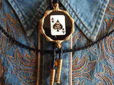 Nueva corbata de bolo Artesanal Ace of Spades cráneo, Oro Metal, VAQUEROS, OESTE Goth