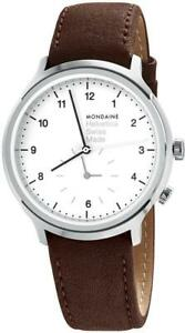 Mondaine Helvetica  Brown Leather Watch for Men and Women, MH1.R2010.LG,40mm