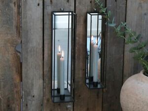 1 Antique Coal Grey Wall Candle Holder Sconce Mirror, Candlestick Metal Glass