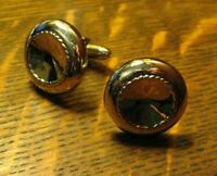 Swank 1960's Silver Chrome Atomic Cufflinks - Concave Hubcap Silver Cuff Links