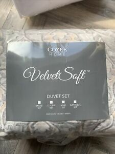 Cozee Home Pixel Damask Printed Velvet Soft 4 piece Duvet Set Double