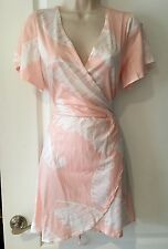 Sexy Women's V neck tie back summer dress evening, casual, cocktail  white/peach