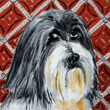 Lhasa Apso dog art ceramic tile Coaster gift Jschmetz modern folk art