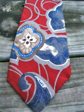 LIBERTY OF LONDON Vintage Mens Silk Neck Tie USA Made Floral Blue Red VALENTINE