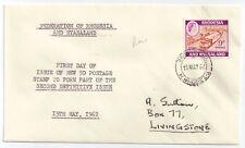 Rhodesia & Nyasaland 1962 FDC 9d sg 24a Railway Trains 4 BROKEN HILL May 15