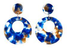 Pendientes de clip-plateado con forma de gota cubiertos con Azul Mezcla De Acrílico-Elica BL