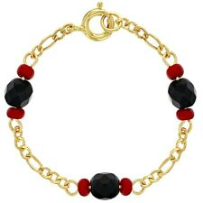 18k Gold Plated Evil Eye Protection Simulated Azabache Baby Bracelet 4.5""