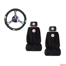 New NFL Pittsburgh Steelers Car Truck 2 Front Seat Covers & Steering Wheel Cover