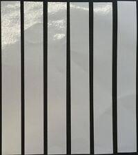 """SIX STICKY WHITE REFLECTIVE STRIPS-VINYL/TAPE  8"""" x 1"""" hazards/signs/crafts"""