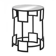 Modern Round Side Table - Iron Base & Mirror Glass Top Furniture - 19.8