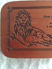 """Play """"Amazing Grace"""" Wooden Lion And lamb Music Box With Sankyo Musical Movement"""