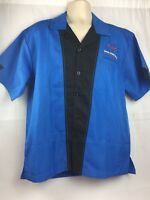 Hilton Bowling Retro Blue Embroidered Shirt Mens Size Med