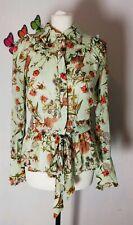 Ghost Green Botanical Victorian Style Ruffle Blouse XS UK 8 10 Wide Cuffs sheer