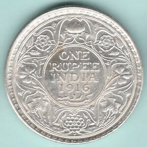 BRITISH INDIA 1916 KING GEORGE V ONE RUPEE SILVER COIN NEAR ABOUT UNC