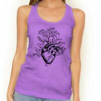 Sprouting Heart Tree Peace Spiritual World Womens Racerback Tank Top T Shirt