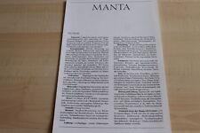 104834) Opel Manta B - technische Daten & Ausstattungen - Prospekt 09/1987