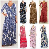 Janette Maxi Full Length Wrap Dress Hippie Boho Chic 60s 70s Teal Blue S M L XL