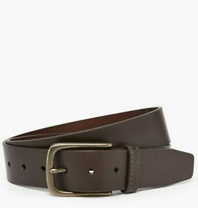 MARKS AND SPENCER MENS  BROWN REAL Italian Leather Belt SIZE 30-32 IN BNWT