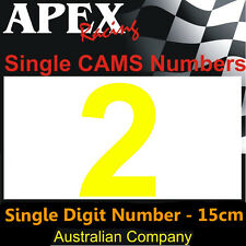 CAMS Window Number 2 Sticker - Single Number 15cm - Race Rally Drift - Yellow