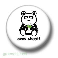 Aww Shoot! Panda 1 Inch / 25mm Pin Button Badge Cute Bear Bamboo Shoot Kitsch