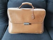 Hartmann Tan Belted Leather Briefcase Attache Valise Messenger Combo Lock
