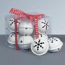 Christmas Decoration 8 Pack Snowflake 40mm Jingle Bell Baubles - White