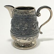 Antique Silver Pitcher India Hand Crafted Ornate Elephants Palm Trees Animals