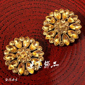 120pcs/lot 26MM High Quality Round Sparkly Gold Rhinestone Button
