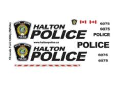 1/18 SCALE HALTON REGIONAL POLICE DECALS FOR WHITE MOTORMAX INTERCEPTOR UTILITY
