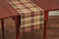 Saffron Table Runner 13X36 Country Red Sage Green Golden Tan Plaid Cotton