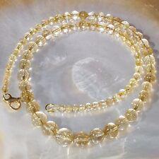 Rutilquarz Halskette, 925er Silber, vergoldet, Edelsteinhalskette (K610)