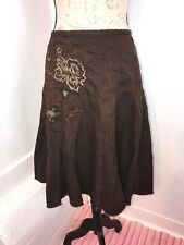 BEAUTIFUL THICK BROWN COTTON SKIRT RED FOLKLORIC EMBROIDERY BOHO CHIC NEXT 8/10