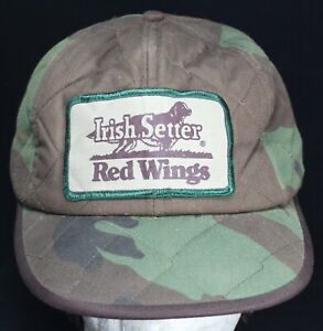 Red Wings Shoes Irish Setter Camo Hat w/ Ear Flaps - Hunting - Camo - Vintage
