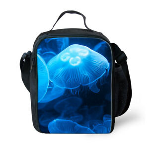 Blue Jellyfish Print Cooler Lunch Bag Picnic Bento Box Shoulder School Bag Case