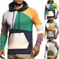 Mens Color Block Hoodie Sweatshirt Tops Gym Sports Pockets Pullover Hooded Tops