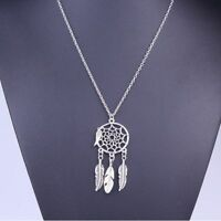 Dream Catcher Turquoise Feather Charm Pendant Jewelry Long Chain Necklace
