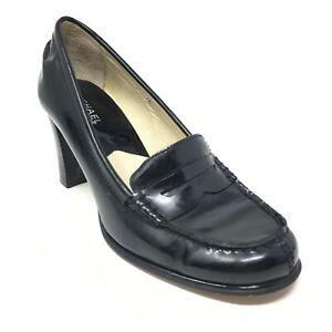 Women's Michael Kors Slip On Pump Heels Shoes Size 7.5 Black Patent Leather