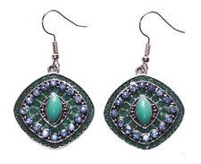 Opulent Blue Stone Centre Topaz Diamante Encrusted/enamel Hook on Earrings(Ns17)