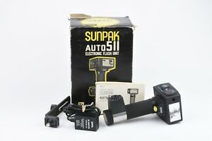 EXC++ SUNPAK AUTO 511 FLASH, BRACKET, CLEAN, TESTED, w/AC ADAPTER, MANUAL, BOXED