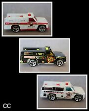 {CC} 1997 Hot Wheels Emergency Vehicles/ Biohazard Removal~Bomb Squad~Fire Dept.