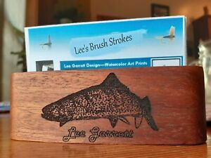Personalized Black Walnut Business Card Holder Laser Engraved w/ Rainbow Trout