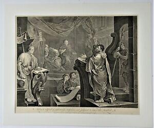 William Hogarth print, Paul Before Felix engraved 1752 by Sullivan, 1837 edition