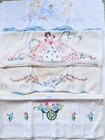 Lot of 4 Vintage Pillow Case Handmade Flower, Praying Hangs, Belle, Goodnight