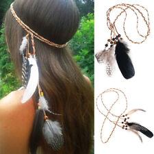 Boho Indian Feather Headband Headdress Hippie Party Tribal Hair Rope Headpieces