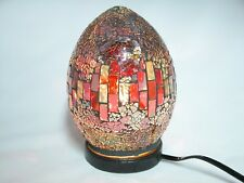 """Mosaic Glass table lamp, Egg Shaped Dark Red 8"""""""