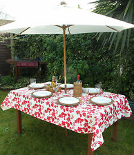 1.4x2.0m RECTANGLE RED FLOWER ON WHITE PVC/VINYL TABLECLOTH WITH PARASOL HOLE