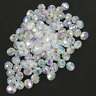 100 x FACETED RONDELLE PLASTIC BEADS 8x7mm CRYSTAL AB CLEAR