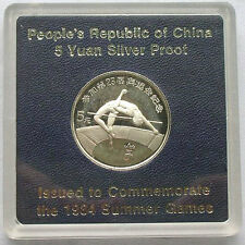 China 1984 High Jump 5 Yuan Silver Coin,With Mint Pack