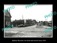 OLD LARGE HISTORIC PHOTO OF BALDWIN WISCONSIN, THE MAIN STREET & STORES c1935 1